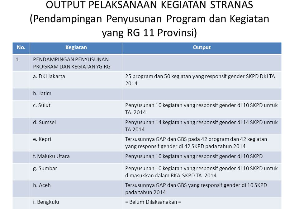 OUTPUT PELAKSANAAN KEGIATAN STRANAS (Pendampingan Penyusunan Program dan Kegiatan yang RG 11 Provinsi)