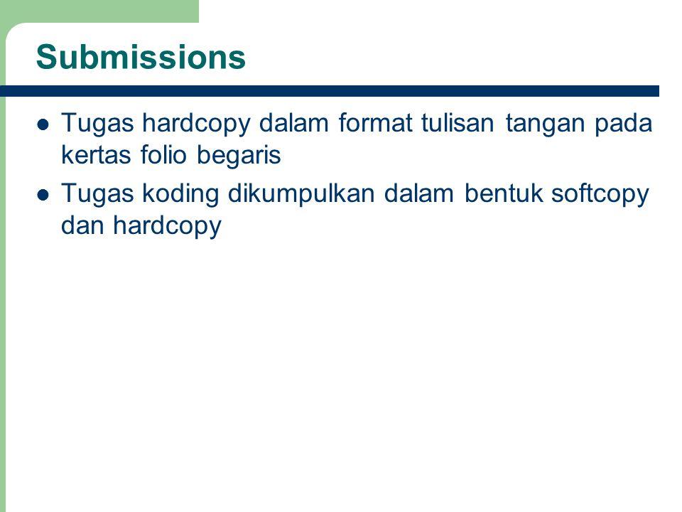 Submissions Tugas hardcopy dalam format tulisan tangan pada kertas folio begaris.