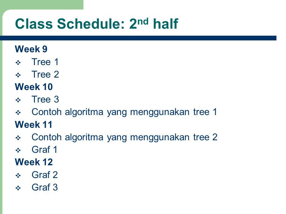Class Schedule: 2nd half