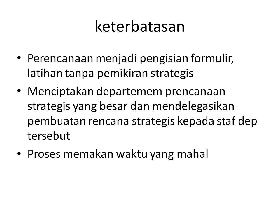 keterbatasan Perencanaan menjadi pengisian formulir, latihan tanpa pemikiran strategis.