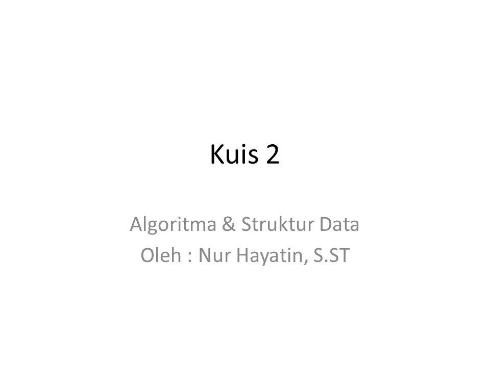 Algoritma & Struktur Data Oleh : Nur Hayatin, S.ST