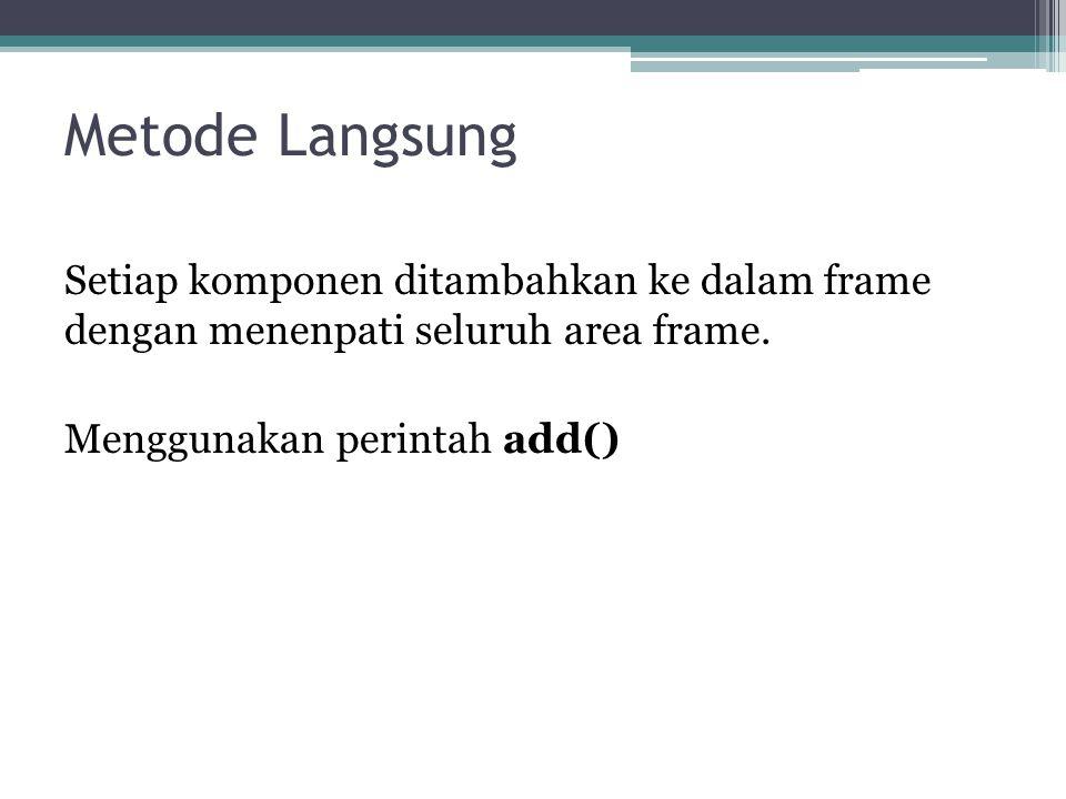 Metode Langsung Setiap komponen ditambahkan ke dalam frame dengan menenpati seluruh area frame.