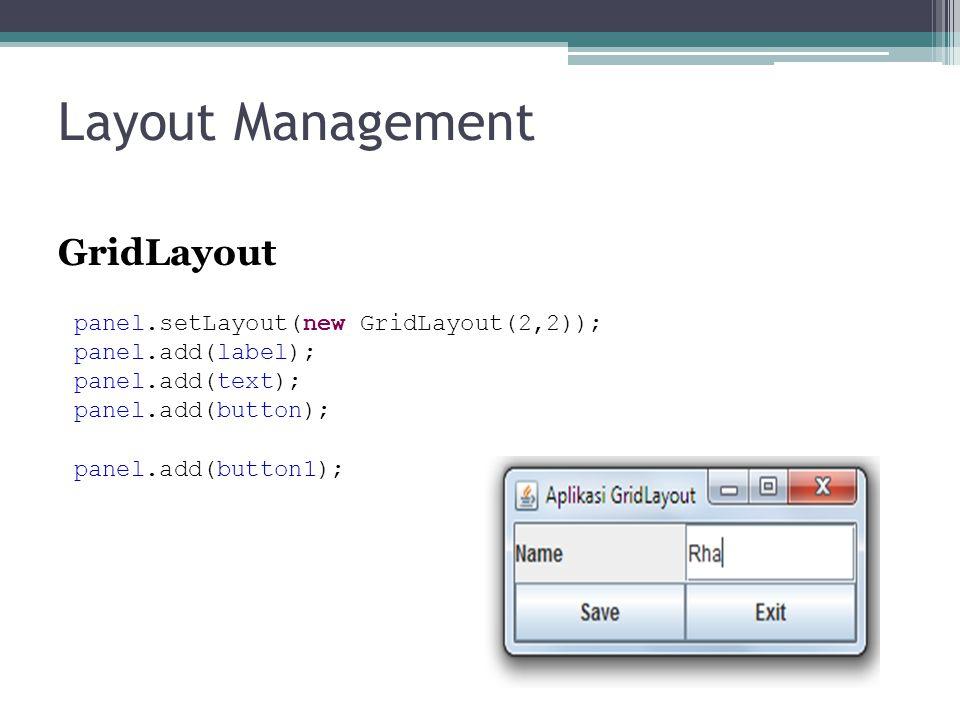 Layout Management GridLayout panel.setLayout(new GridLayout(2,2));