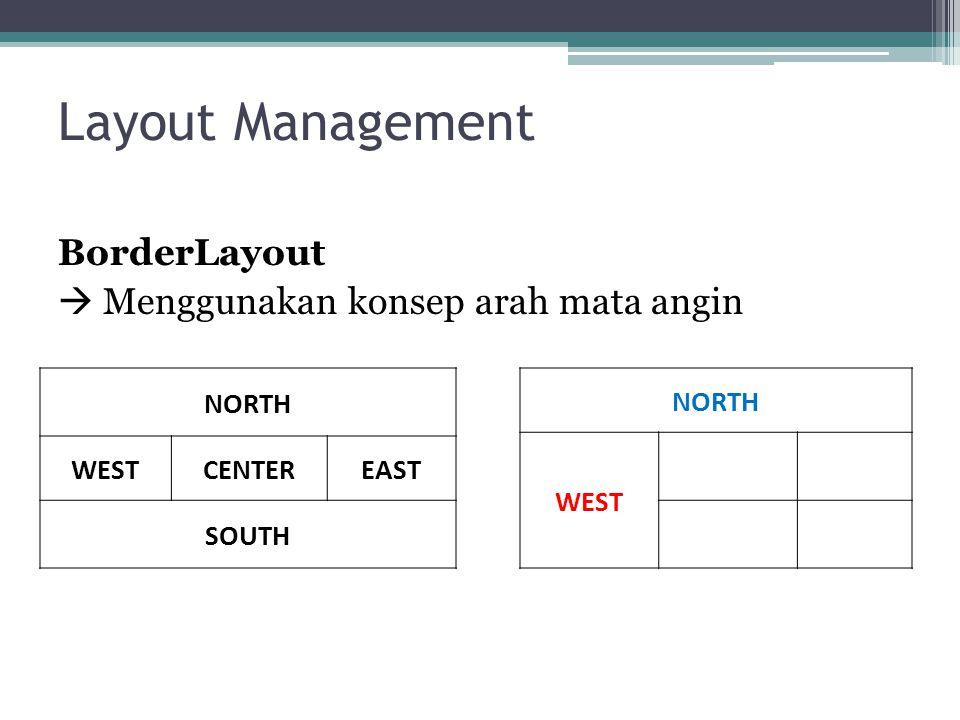 Layout Management BorderLayout  Menggunakan konsep arah mata angin