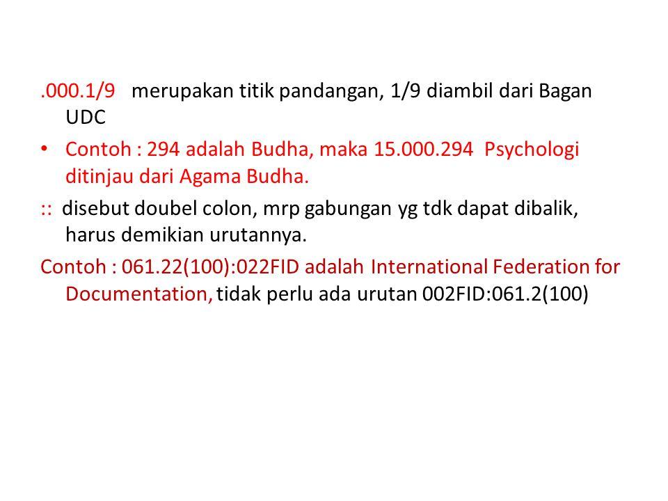 .000.1/9 merupakan titik pandangan, 1/9 diambil dari Bagan UDC