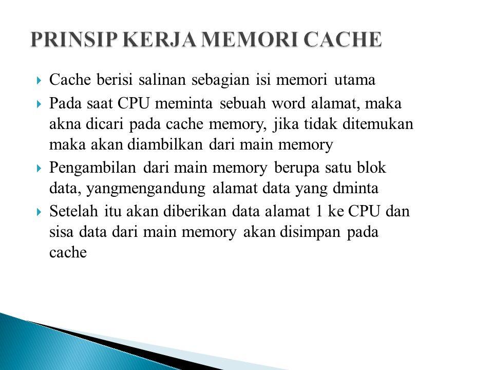 PRINSIP KERJA MEMORI CACHE