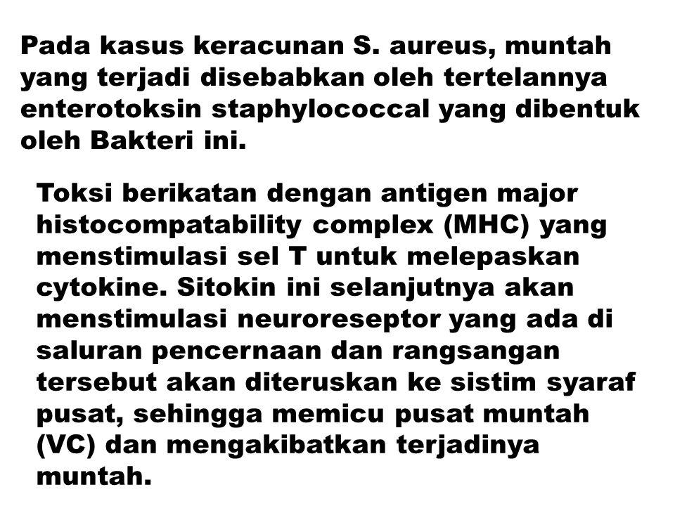 Pada kasus keracunan S. aureus, muntah yang terjadi disebabkan oleh tertelannya enterotoksin staphylococcal yang dibentuk oleh Bakteri ini.
