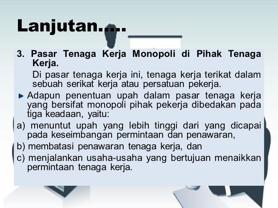 Lanjutan..... 3. Pasar Tenaga Kerja Monopoli di Pihak Tenaga Kerja.