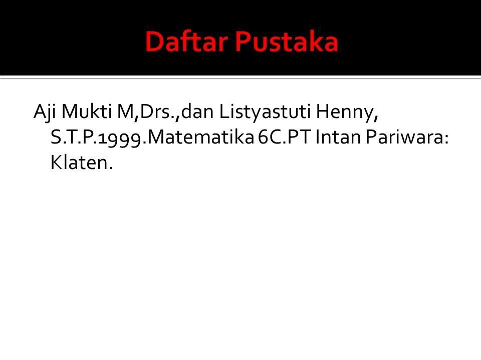 Daftar Pustaka Aji Mukti M,Drs.,dan Listyastuti Henny, S.T.P.1999.Matematika 6C.PT Intan Pariwara: Klaten.