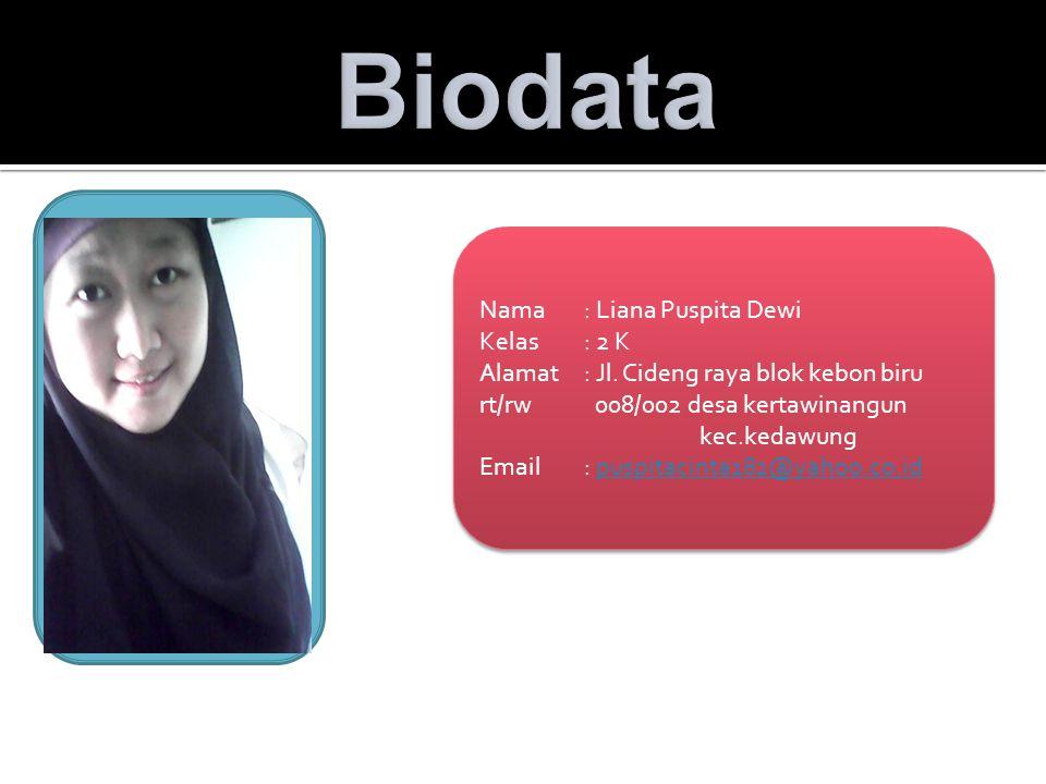 Biodata Nama : Liana Puspita Dewi Kelas : 2 K