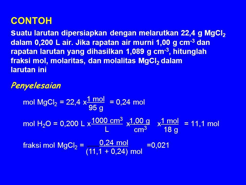 CONTOH suatu larutan dipersiapkan dengan melarutkan 22,4 g MgCl2 dalam 0,200 L air. Jika rapatan air murni 1,00 g cm-3 dan rapatan larutan yang dihasilkan 1,089 g cm-3, hitunglah fraksi mol, molaritas, dan molalitas MgCl2 dalam larutan ini