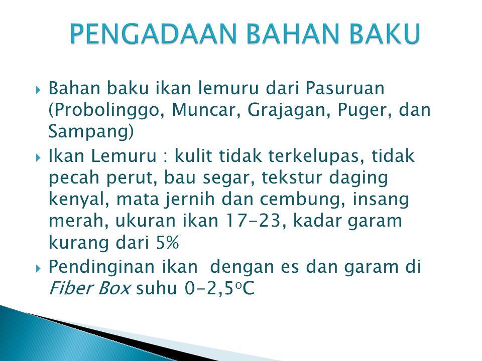 PENGADAAN BAHAN BAKU Bahan baku ikan lemuru dari Pasuruan (Probolinggo, Muncar, Grajagan, Puger, dan Sampang)