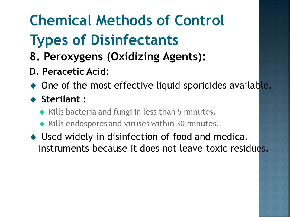 Chemical Methods of Control Types of Disinfectants