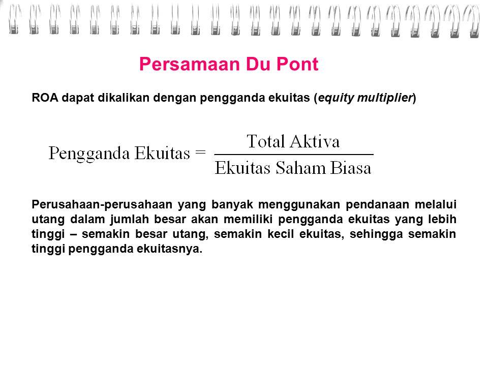 Persamaan Du Pont ROA dapat dikalikan dengan pengganda ekuitas (equity multiplier)