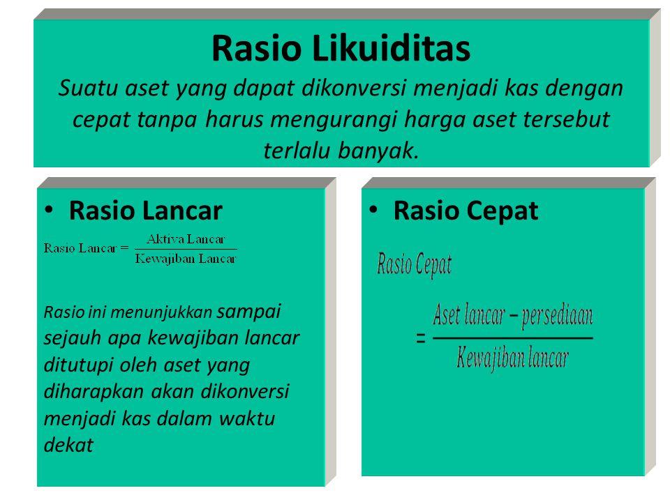 Rasio Likuiditas Suatu aset yang dapat dikonversi menjadi kas dengan cepat tanpa harus mengurangi harga aset tersebut terlalu banyak.