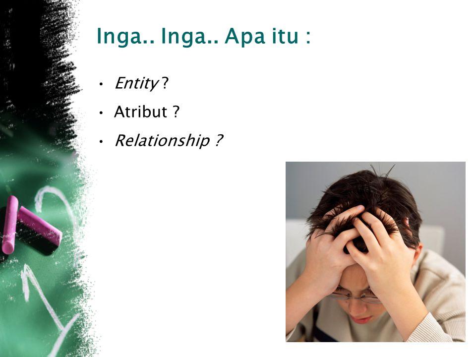 Inga.. Inga.. Apa itu : Entity Atribut Relationship