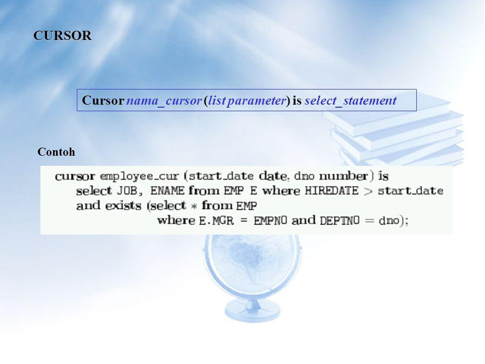 Cursor nama_cursor (list parameter) is select_statement