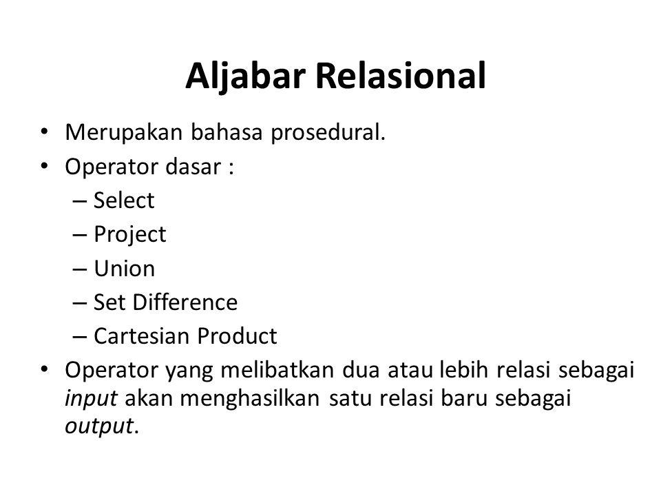 Aljabar Relasional Merupakan bahasa prosedural. Operator dasar :