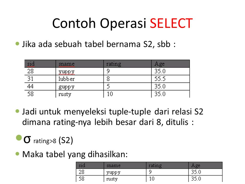 Contoh Operasi SELECT σ rating>8 (S2)