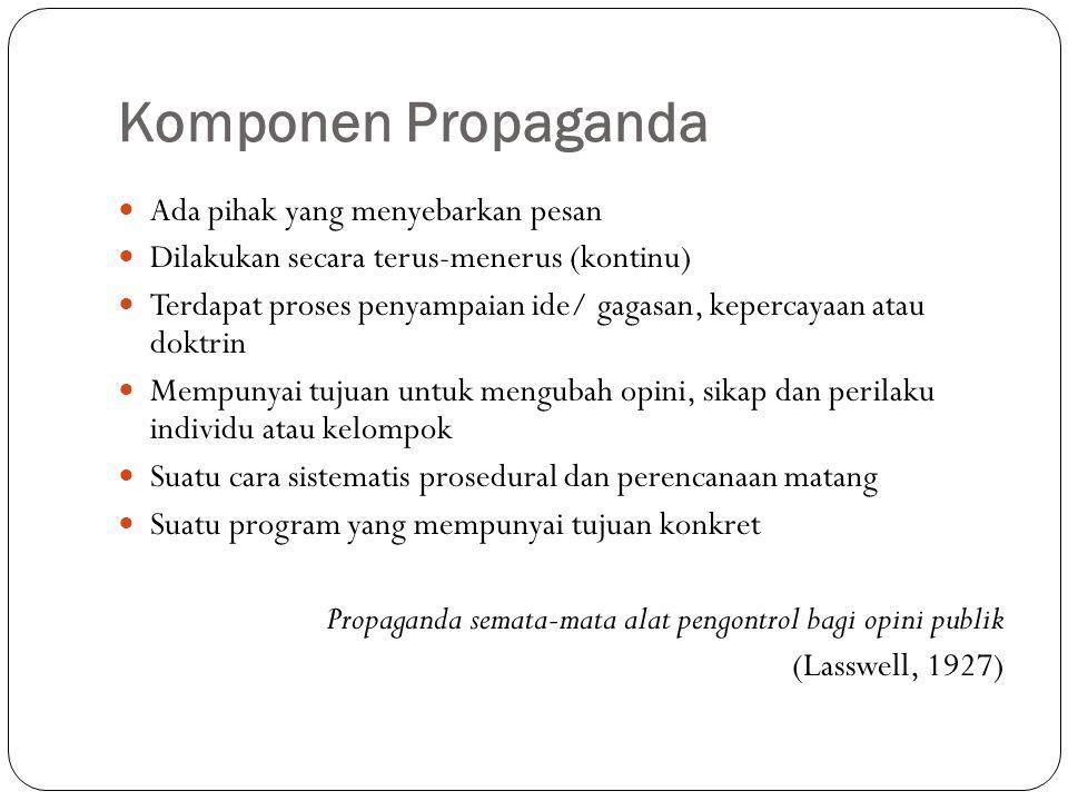 Komponen Propaganda Ada pihak yang menyebarkan pesan