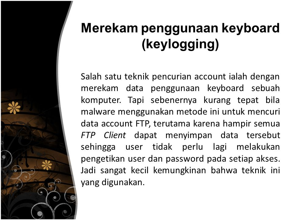 Merekam penggunaan keyboard (keylogging)