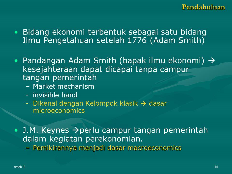 12Pebr 08 Pendahuluan. Bidang ekonomi terbentuk sebagai satu bidang Ilmu Pengetahuan setelah 1776 (Adam Smith)