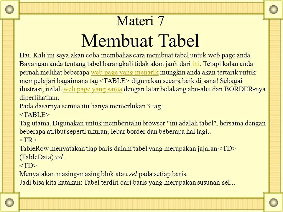 Materi 7 Membuat Tabel
