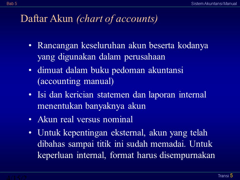 Daftar Akun (chart of accounts)