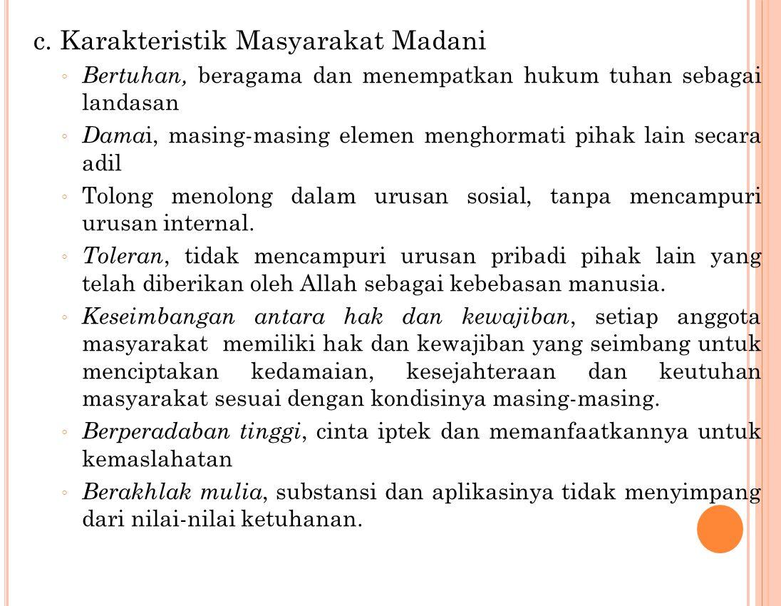 c. Karakteristik Masyarakat Madani