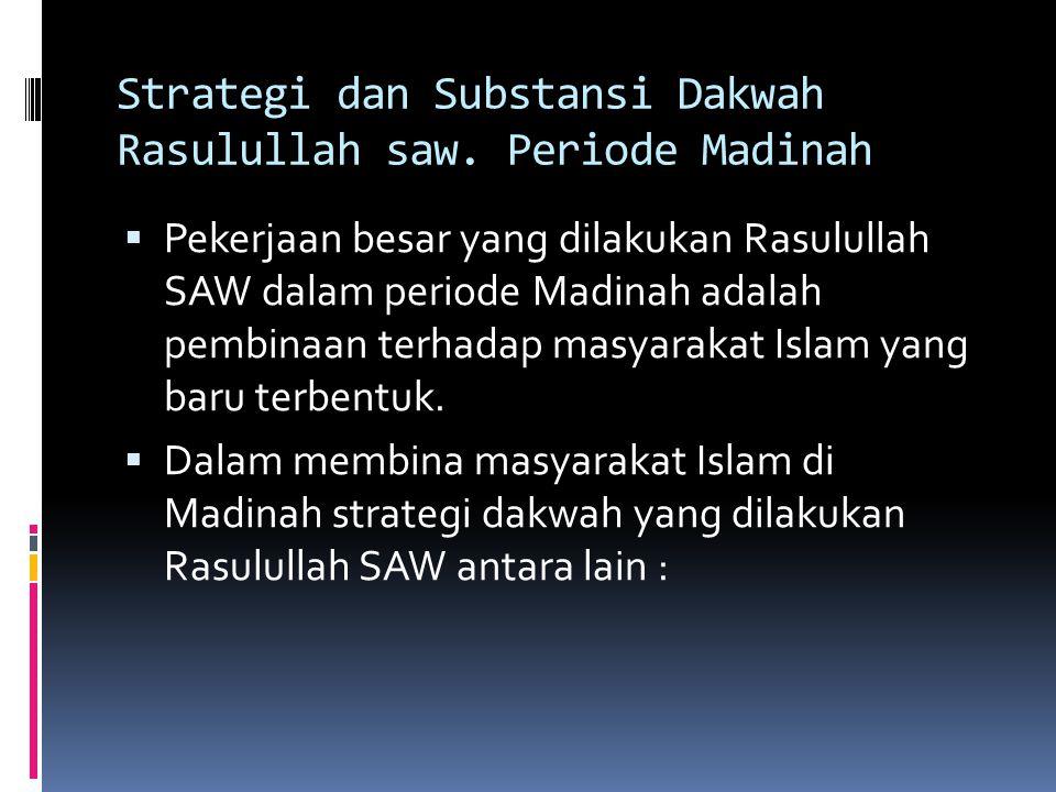 Strategi dan Substansi Dakwah Rasulullah saw. Periode Madinah