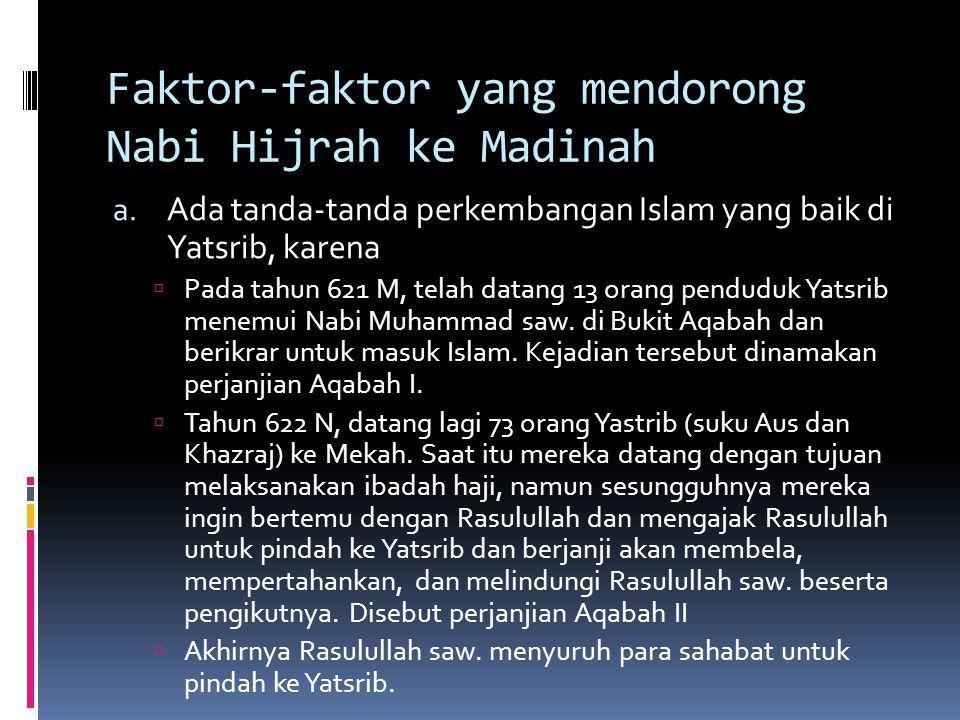 Faktor-faktor yang mendorong Nabi Hijrah ke Madinah