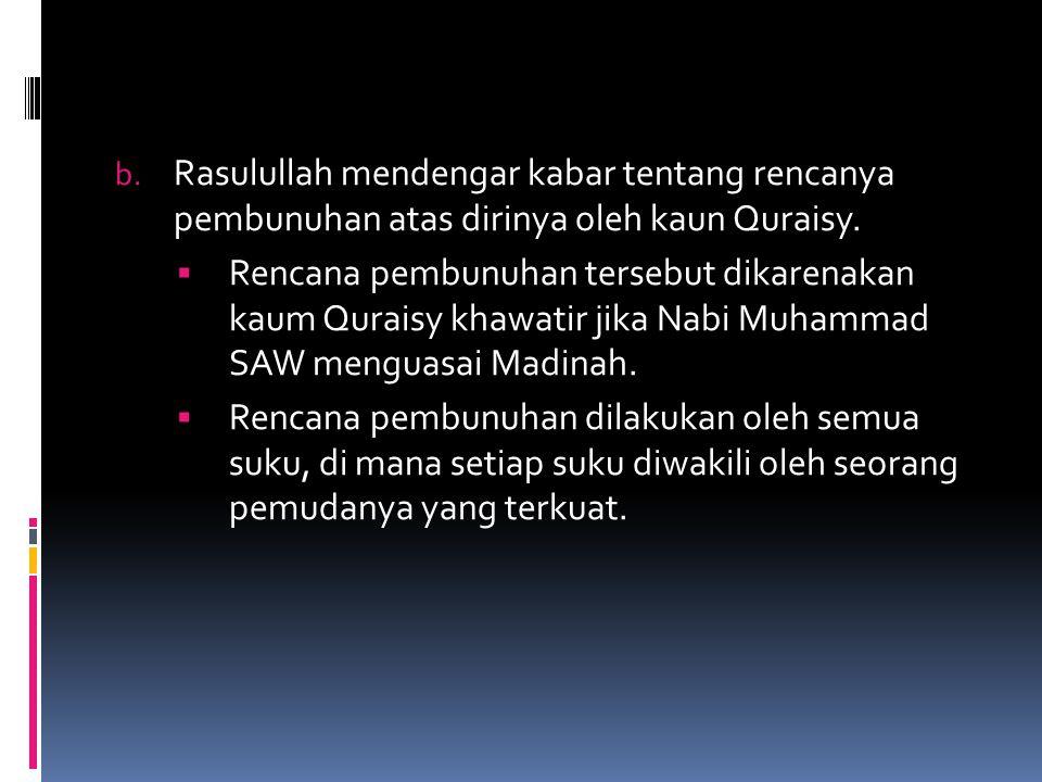 Rasulullah mendengar kabar tentang rencanya pembunuhan atas dirinya oleh kaun Quraisy.
