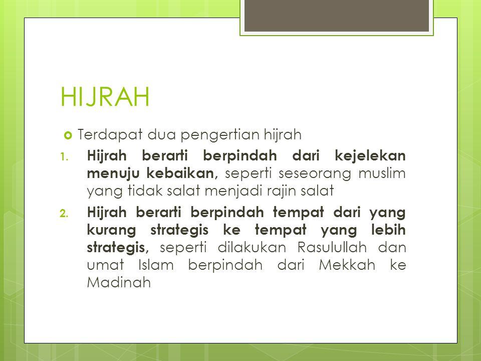 HIJRAH Terdapat dua pengertian hijrah
