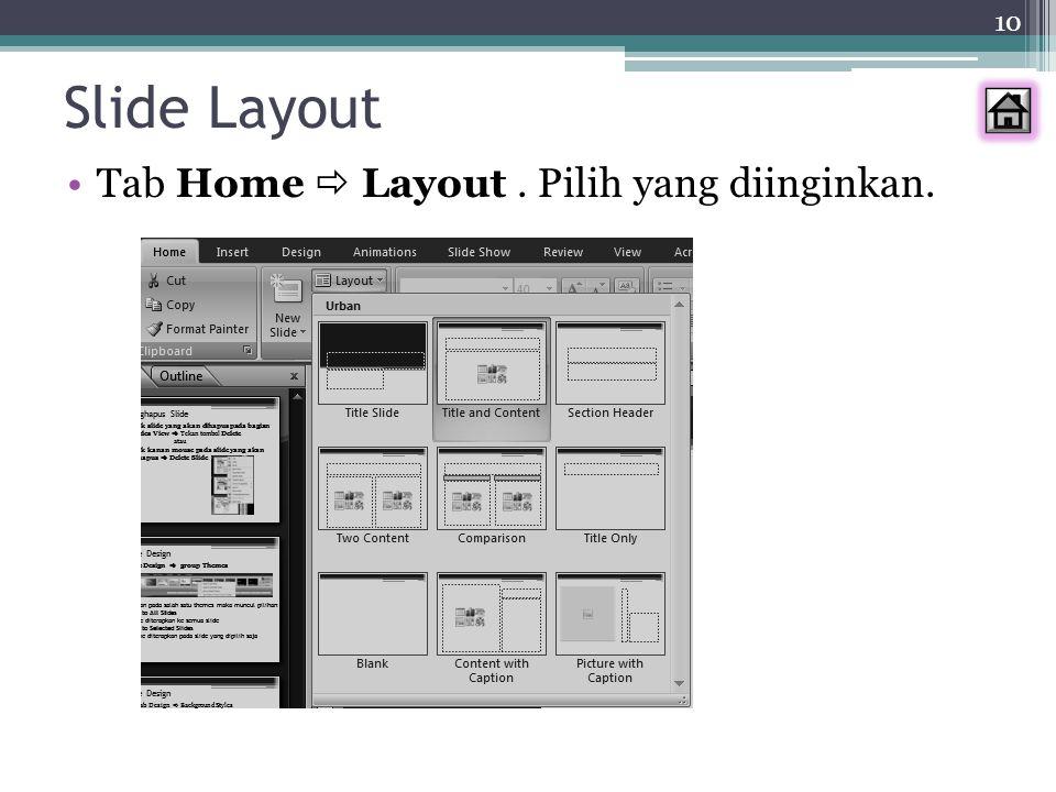 Slide Layout Tab Home  Layout . Pilih yang diinginkan.