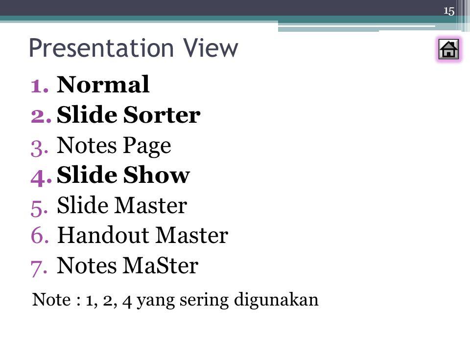 Presentation View Normal Slide Sorter Notes Page Slide Show