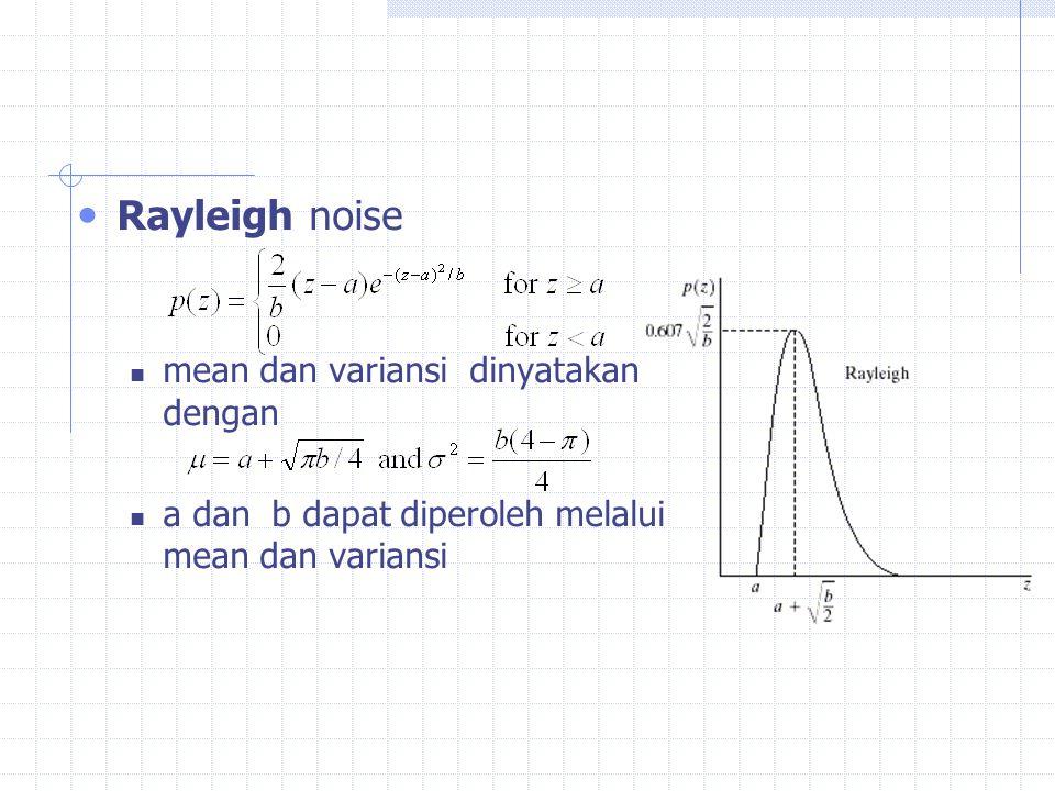 Rayleigh noise mean dan variansi dinyatakan dengan