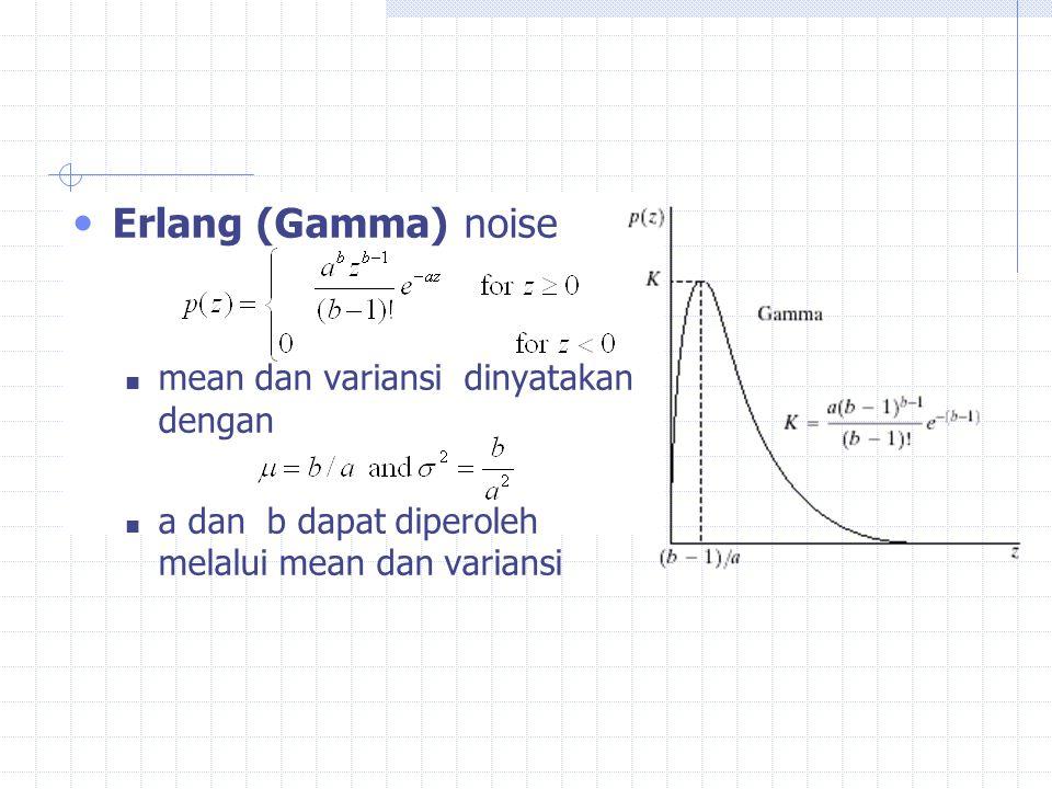 Erlang (Gamma) noise mean dan variansi dinyatakan dengan