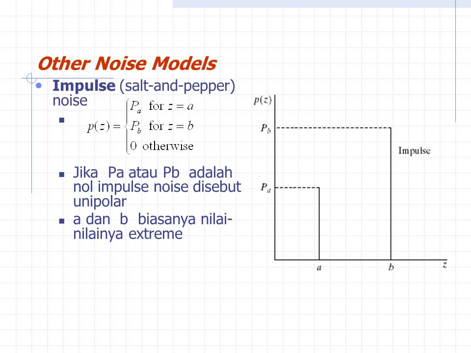 Other Noise Models Impulse (salt-and-pepper) noise