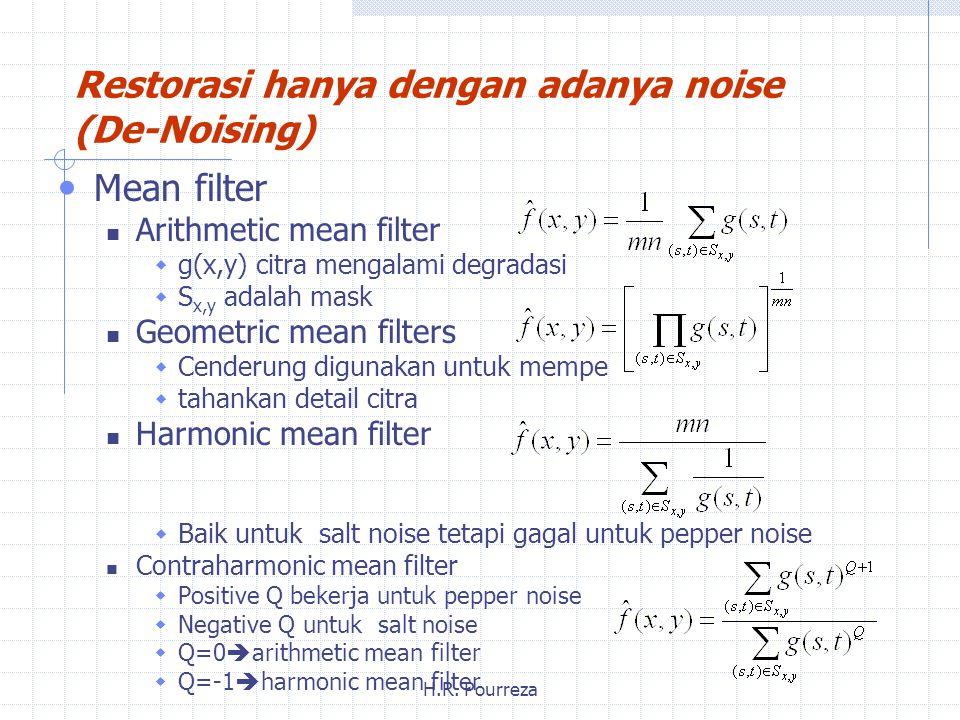 Restorasi hanya dengan adanya noise (De-Noising)