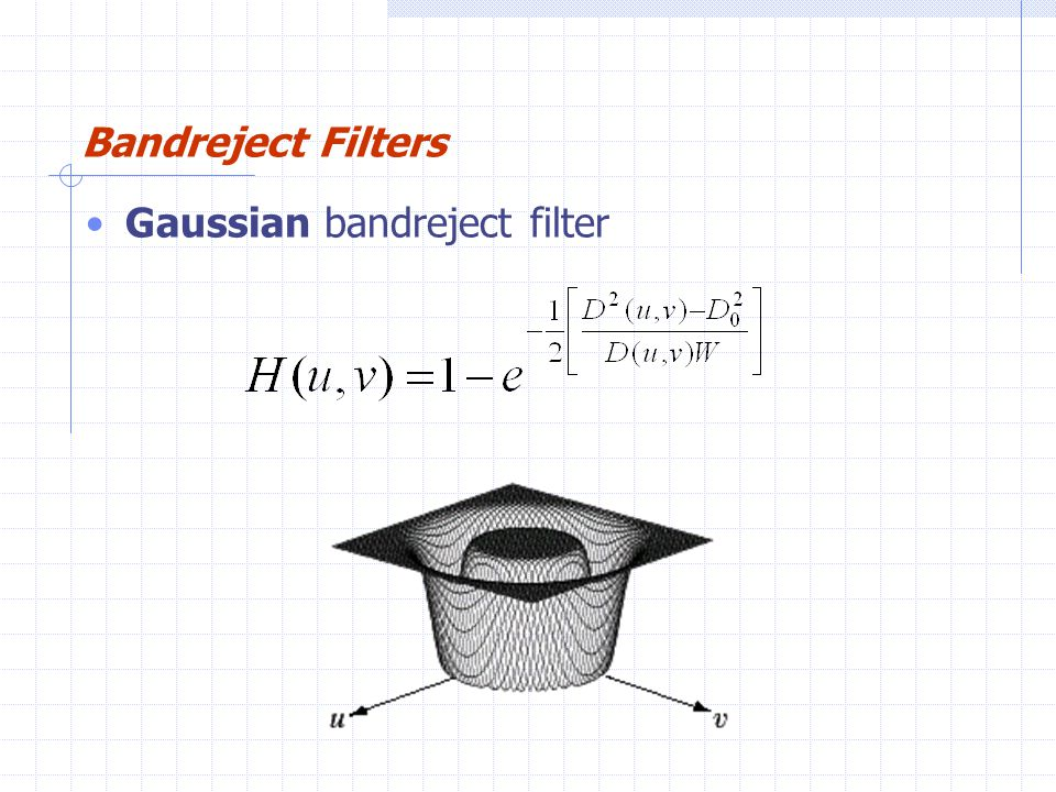 Bandreject Filters Gaussian bandreject filter