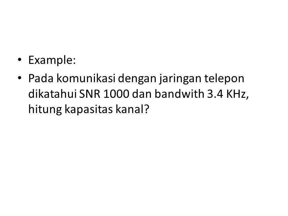 Example: Pada komunikasi dengan jaringan telepon dikatahui SNR 1000 dan bandwith 3.4 KHz, hitung kapasitas kanal