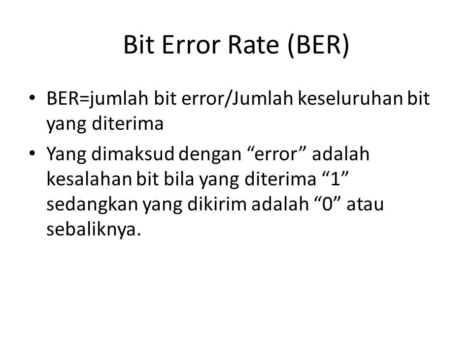 Bit Error Rate (BER) BER=jumlah bit error/Jumlah keseluruhan bit yang diterima.