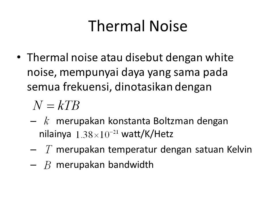 Thermal Noise Thermal noise atau disebut dengan white noise, mempunyai daya yang sama pada semua frekuensi, dinotasikan dengan.
