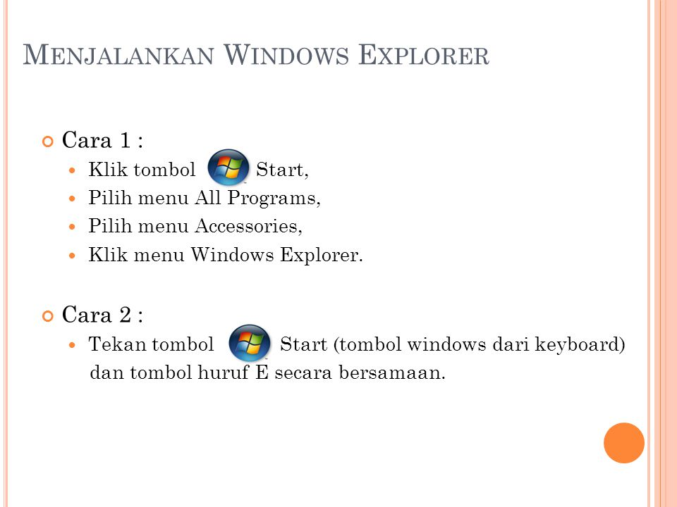 Menjalankan Windows Explorer