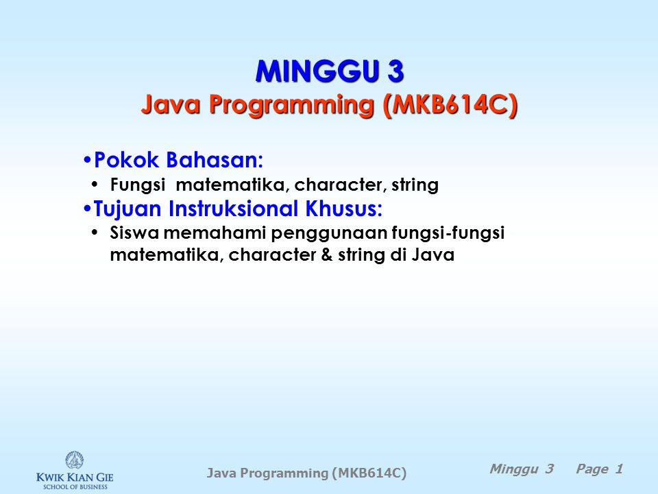 MINGGU 3 Java Programming (MKB614C)