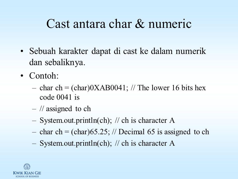 Cast antara char & numeric