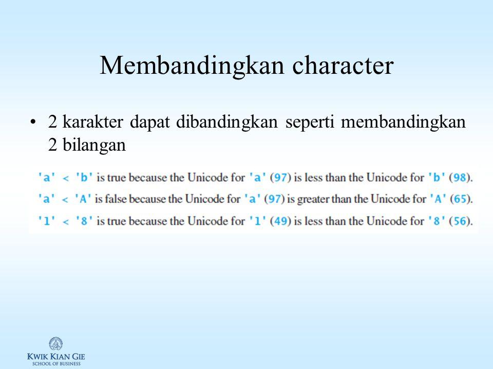 Membandingkan character