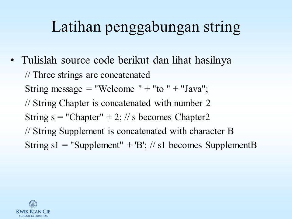 Latihan penggabungan string
