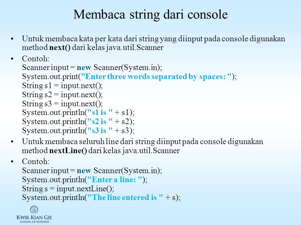 Membaca string dari console