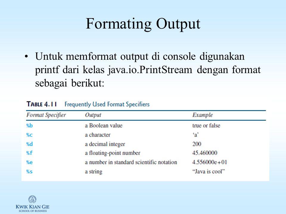 Formating Output Untuk memformat output di console digunakan printf dari kelas java.io.PrintStream dengan format sebagai berikut: